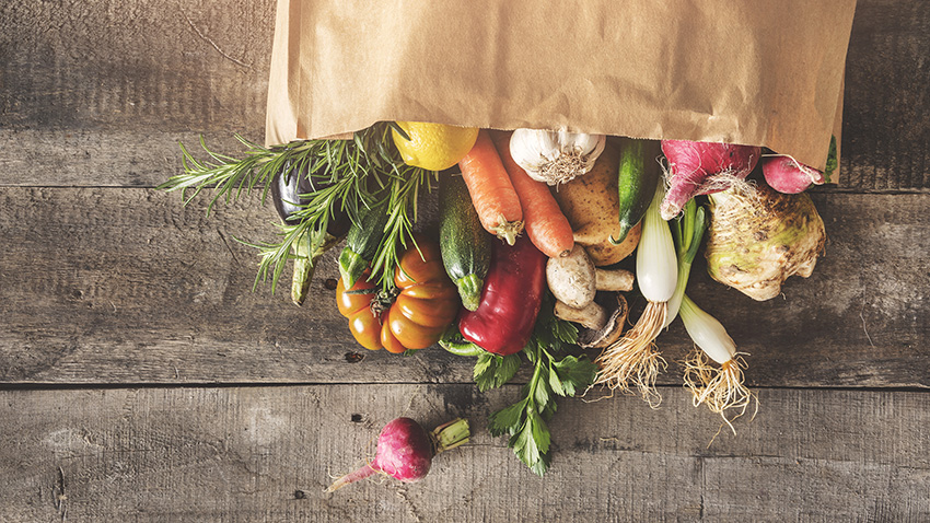 Bag of farm-fresh vegetables.